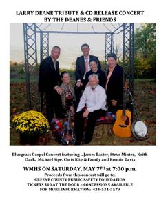 The Deane's Bluegrass Gospel Band Benefit Concert